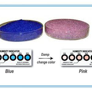 hạt hút ẩm silicagel xanh đổi sang màu hồng khi gặp nước
